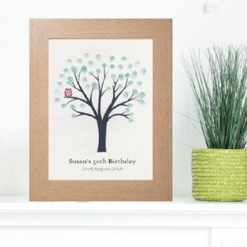 Owl Fingerprint Tree - Guest Book Alternative Suitable For Parties